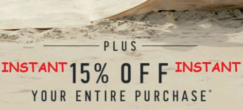 Hollister 15% Off Coupon Entire Purchase In Store & Online INSTANT DELIVERY
