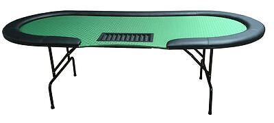 "(2) 96"" dealer Poker tables green cloth metal legs replaceable felt & arm rests"