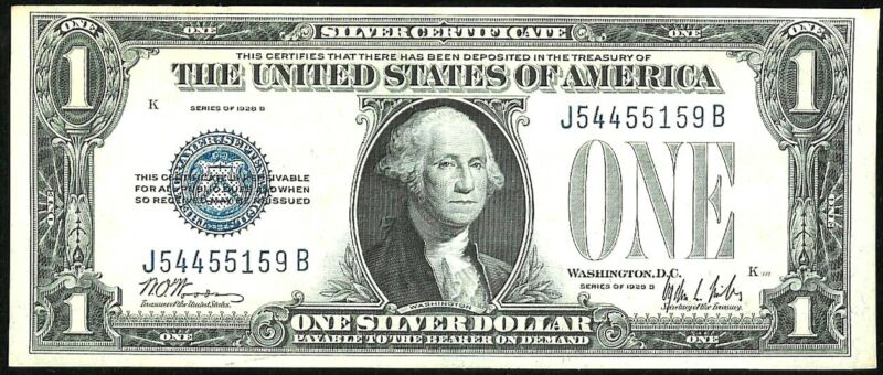 1928 B UNITED STATES $1 FUNNY BACK SILVER CERTIFICATE NOTE ABOUT UNCIRCULATED