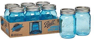 Ball Pint Mason Jars w/Lids Canning Vintage Heritage Collection Blue 16oz 6/Pk