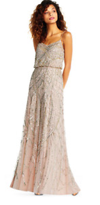 Adrianna Papell Beaded blouson gown with sweetheart neckline