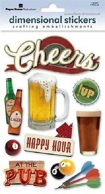 Happy Bottom Pool - CHEERS Beer Pub Lager Pool Darts Bottoms up Happy Hour Paper House Stickers