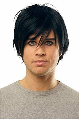 80s Male Hair (BLACK MALE MENS ADULT 80S GOTH ROCKER EMO PUNK SHORT STRAIGHT HAIR COSTUME)