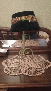 Vintage Dark Green Velvet Hat