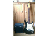 Electric guitar and proctice amp