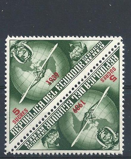 Ecuador 1939 Airmail red overpr 5s Plane Ship pair MNH