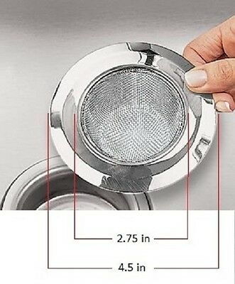 """2 Pack Steel Sink Strainers Mesh Kitchen Sink Heavy Duty 4.5"""" Outer 2.75"""" Inner"""