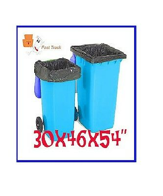 5 x LARGE BLACK WHEELIE BIN LINERS REFUSE SACKS BAGS - 30x46x54