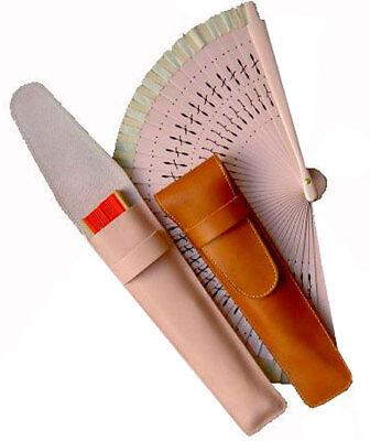Funda de abanico en piel de Ubrique. Estuche de cuero para proteger...