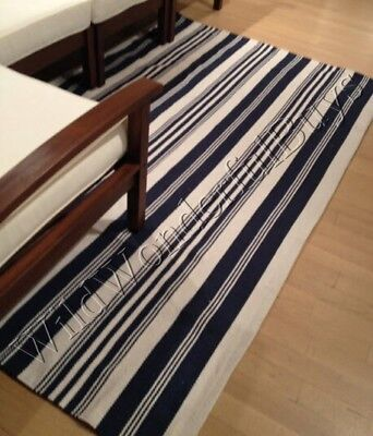 Pottery Barn Oxford Stripe Rug Blue 3x5 Coastal Decor Nautical New (Nautical Carpet)