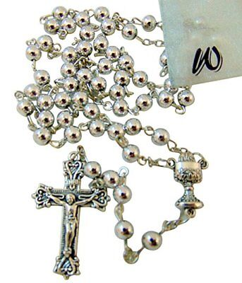 Westman Works First Holy Communion Metal Rosary with Gift Bag for Boys or Girls