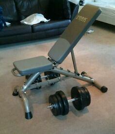 Adjustable position York fitness bench and 2x 25kg adjustable dumbbells