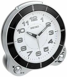 *BRAND NEW* Seiko Black/White Beep Bell Snooze Bedside Alarm Clock QHK031SLH