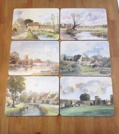 3 sets of Melamine place mats/coasters with watercolour artwork