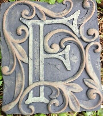 F Stone, plaque, stepping stone,  plastic mold, concrete mold, cement, plaster