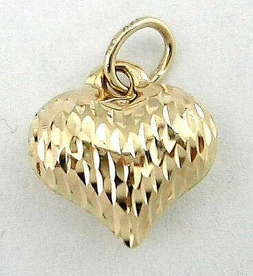 14k Yellow Gold Diamond Cut Puffed Heart Charm Pendant 16 x 11mm (Diamond Cut Puffed Heart Pendant)