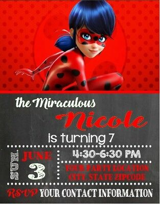Miraculous Ladybug Birthday Party Invitations Personalized Custom - Ladybug Birthday Party Invitations