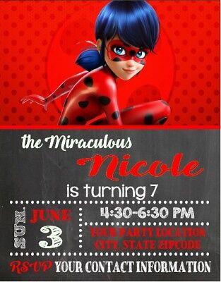 Ladybug Birthday Party Invitations (Miraculous Ladybug Birthday Party Invitations Personalized)