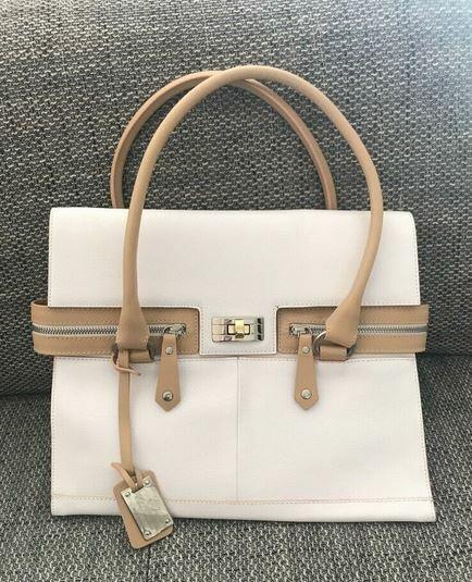 Elsa Valentini Leder weiß Tasche Umhängetasche Handtasche