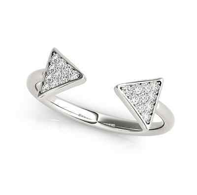 0.30 CT FOREVER CLASSIC MOISSANITE FASHION THIN OPEN ARROW MICRO PAVE RING