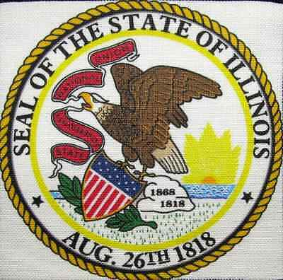 Illinois State Seal (ILLINOIS STATE SEAL - Display your travels! - Printed Patch-Sew On - Bag, Jacket )