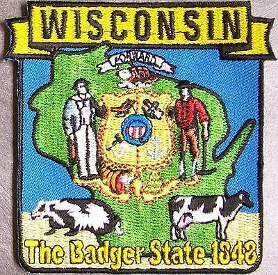 Embroidered USA State Patch Wisconsin NEW montage