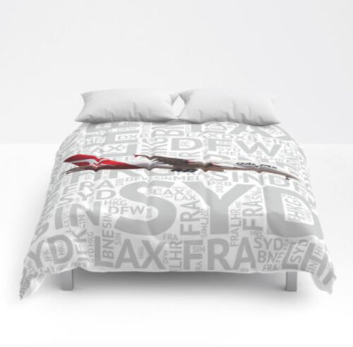 Qantas Airlines Airbus A380 with Airport codes - Queen Size Comforter