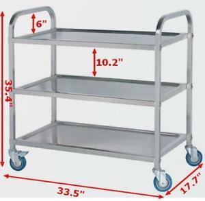 Stainless Steel kitchen Utility Cart 3-Shelf&2-Shelf High Load Capacity 190020
