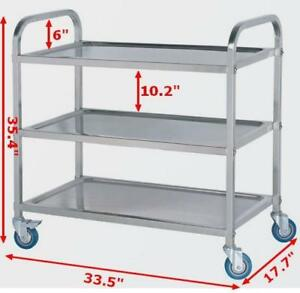 Stainless Steel kitchen Utility Cart 3-Shelf&2-Shelf High Load Capacity 190020