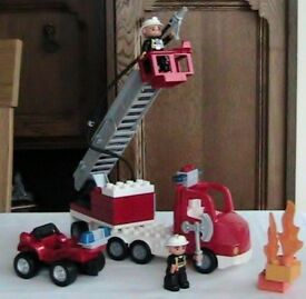 Toys - Lego Duplo Fire Engine Set with Lights and Sounds together with a Fire Car and 2 Fireman VGC