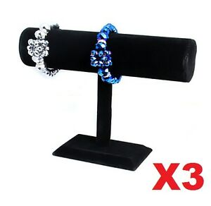 3X BLACK VELVET BRACELET WATCH BANGLE JEWELLERY DISPLAY T-BAR STAND