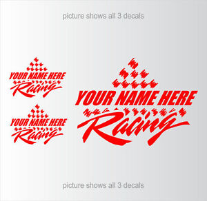 Racing-Team-YOUR-TEXT-Car-Truck-CUSTOM-Decals-Setof3