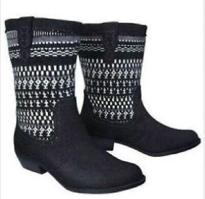 NWT Girl's Cherokee Hemlock Cowboy Fashion boots  Black size 2 Youth
