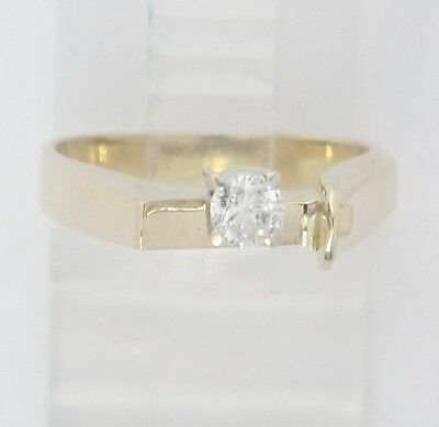 14K Yellow Gold Round Diamond Solitaire Free Form Custom Engagement Ring  18Ct