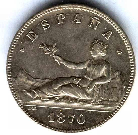 1ª Republic Spanish 5 Pesetas 1870 @ Excellent @ 4 @
