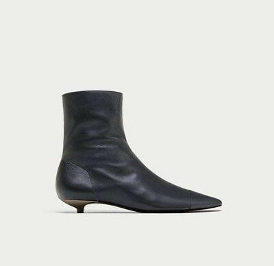 b9359c9fda1 ZARA GREY FLAT LEATHER ANKLE BOOTS WITH TOE CAP DETAIL AW17 UK SIZES 3   6  NEW