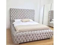 Luxury crushed velvet bed with mattress