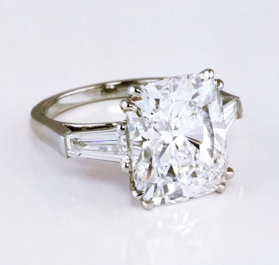 Natural 2.50 Ct. Cushion Cut w/ Baguette Diamond Engagement Ring H SI1 GIA Plat