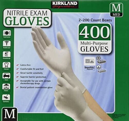 KIRKLAND NITRILE GLOVES 2X200 Count Boxes 400 SIZE M Multipurpose