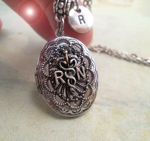 RN Locket, Registered Nurse Gift * Personalized with Initial * Thank a Nurse