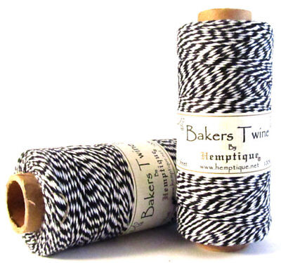 Hemptique 4 ply 1mm Black and White Cotton Bakers Twine - 1 - Bakers Twine