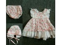 0-3 Open back dress with matching hat and knickers