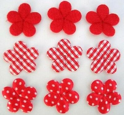 "60 Padded Felt/Satin Polka Dots/Gingham Check 1"" Flower Daisy Applique H348-Red"
