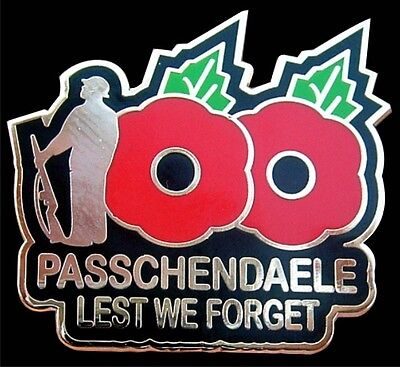 WW1 PASSCHENDAELE LEST WE FORGET 100 YEARS POPPY REMEMBRANCE DAY PIN BADGE