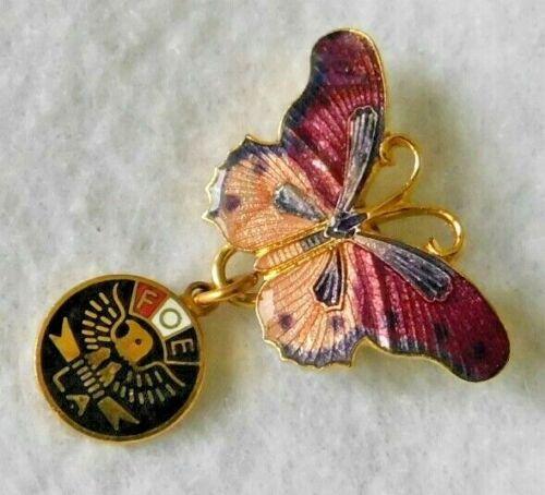 FOE LA Eagles Pin Brooch Cloisonne Butterfly w/ Round Dangle FOE L.A. Added