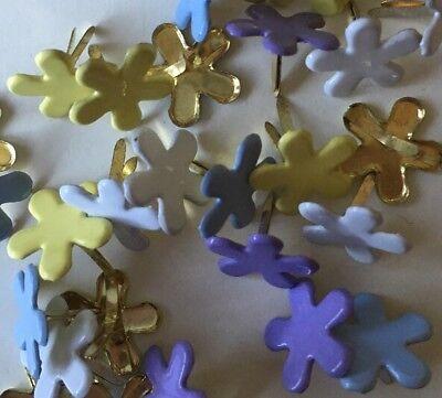Pastel Flower Brads for Scrapbooking, Stamping, Cards, Paper Crafts, Spring - Decorative Brads