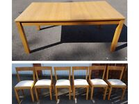 Ikea Extending Bjursta Oak Table & 6 Ikea Solid Oak Chairs FREE DELIVERY 260