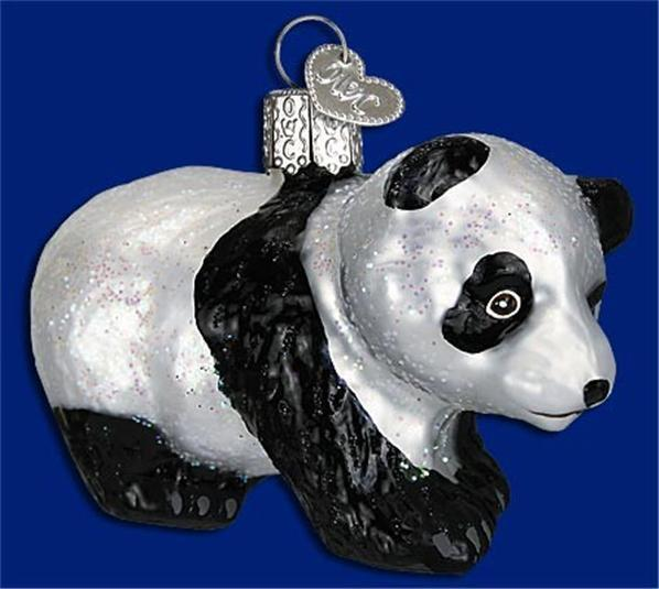 PANDA CUB OLD WORLD CHRISTMAS GLASS PANDA BEAR CUB HAND-PAINTED ORNAMENT 12357
