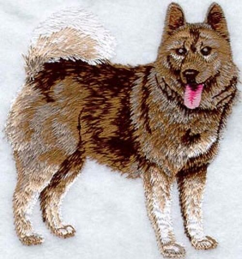 Large Embroidered Zippered Tote - Norwegian Elkhound I1094