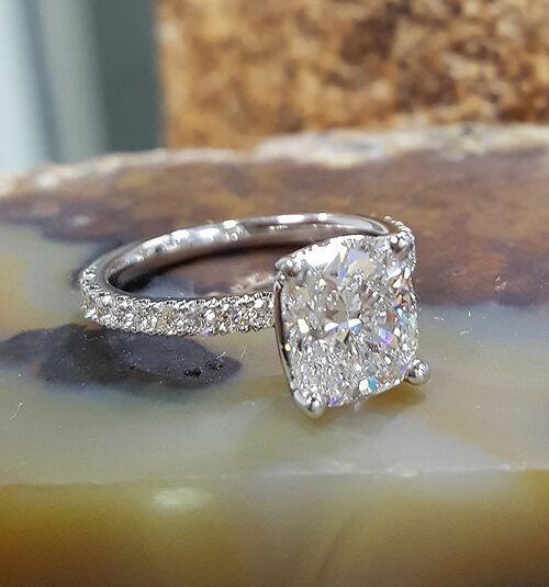 Real 1.50 Ct Cushion Cut Diamond Prong & U-Set Engagement Ring F,VS2 GIA 14K WG 1